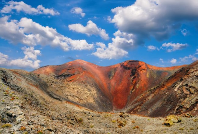 Volcanic crater in Mountains of fire,Timanfaya National Park in Lanzarote Island